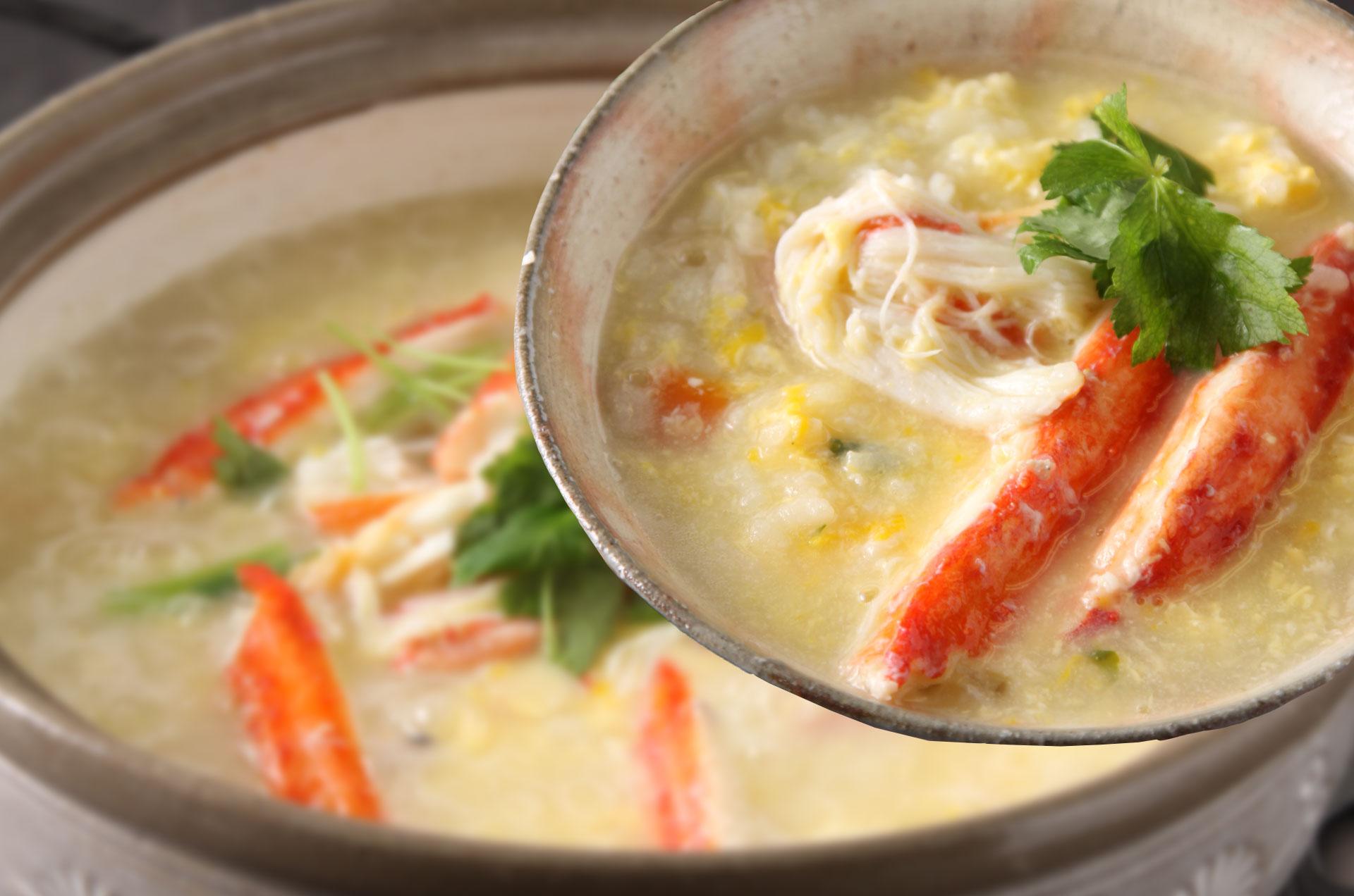 かに鍋の〆は、旨い出汁でつくる雑炊